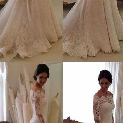 Elegant Bateau wedding dress,Long S..