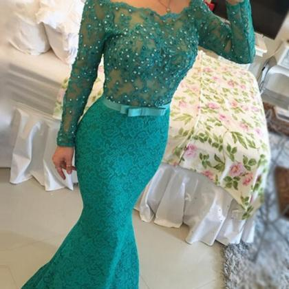 Lace Prom Dresses with Beading,Merm..