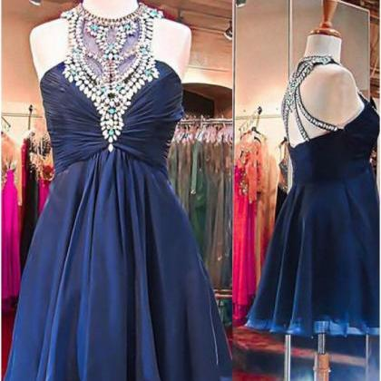 Navy High Neck Homecoming Dresses, ..