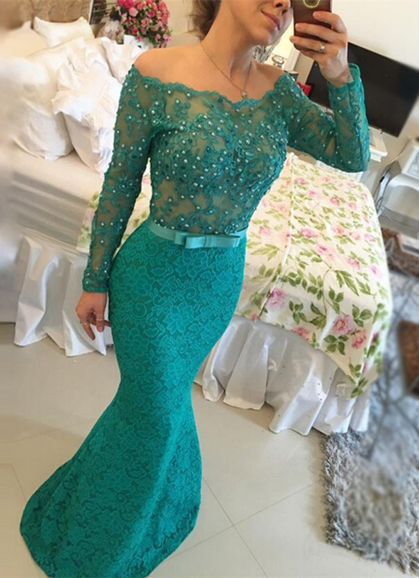 Lace Prom Dresses with Beading,Mermaid Prom Dress,Sexy Formal Dresses,Dark Green Bateau Neck Dresses,Long Sleeves Formal Dresses,Floor Length Evening Dresss,Long Sleeve Dresses,Mother Dresses,Bridesmaid Dresses,Formal Dresses,Wedding Guest Dresses, Cocktail Dresses, formal dresses,Wedding guests dresses