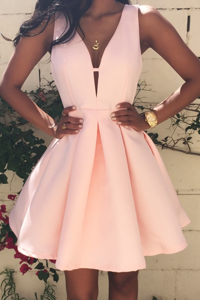 Hote sale Homecoming Dress, Sexy A Line Bridesmaid Dresses, V Neck Party Dresses, Mini Cocktail dress, PINK Satin Prom Dresses ,Homecoming Dresses ,Celebrity Dresses