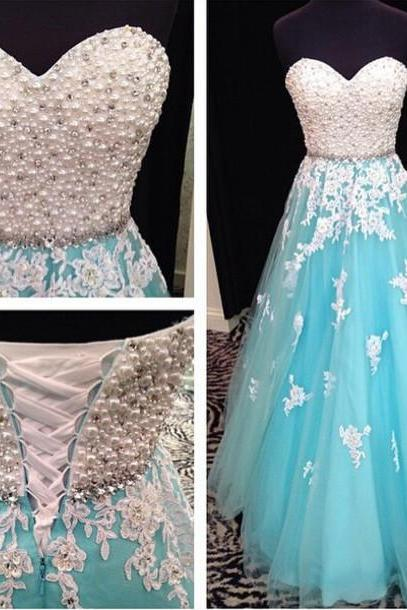 Blue Prom Dress, Sweet Heart Prom Dress, Lace Up Prom Dress, Lace Dress, Evening Dress, Rhinestone Prom Dresses,Charming Backless Evening Dresses
