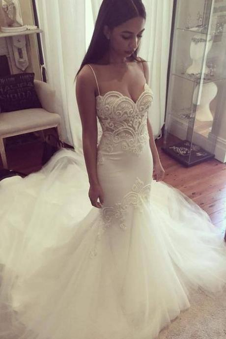 New Spaghetti Straps Wedding Dress,Sweetheart Lace Wedding Dress, Peals Mermaid Wedding Dresses ,Long Train Bridal Gowns