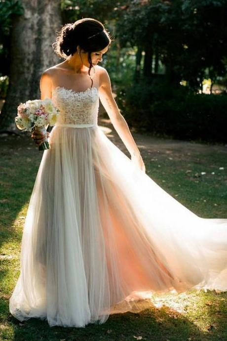 Wedding Dress,Wedding Dresses,Lace Wedding Dresses,Beach Wedding Dresses,Sheer Neck Wedding Dresses,Country Wedding Dresses