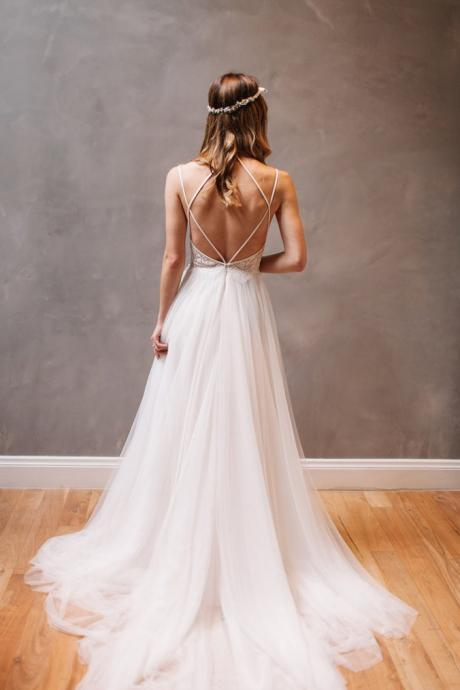 Beach Wedding Dresses,Summer Bridal Dresses,Backless Wedding Dresses,Lace Tulle A-line Wedding Dresses