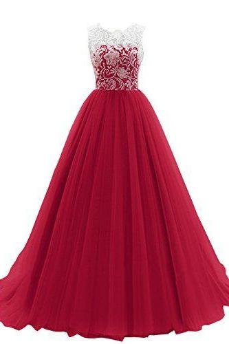Prom Dress,Maroon Long Prom Dressprom dresses,lace evening gowns,white lace prom gowns,evening dress,Tulle party gowns,burgundy prom gowns, Evening Dress