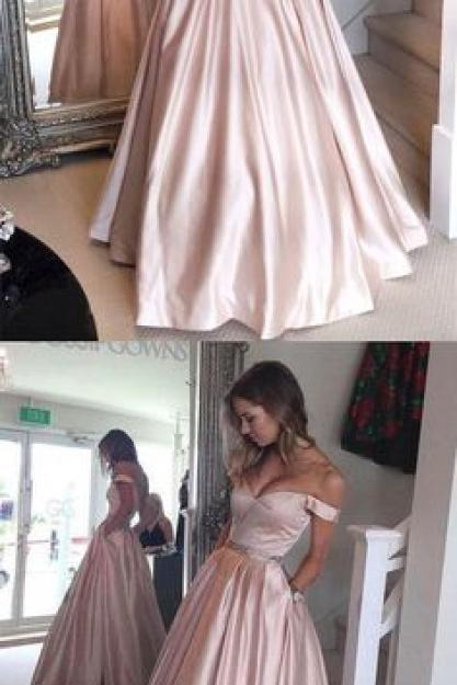 Prom Dress, Off the Shoulder Prom Dress, Ball Gown, Pearl Pink Prom Dress, A-line Long Prom Gown