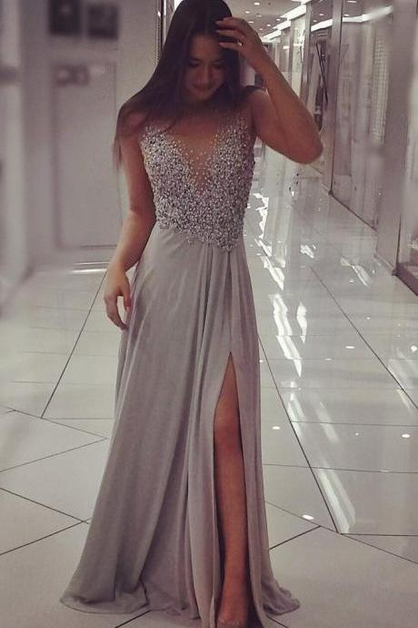 Grey Chiffon Sparkly Beaded Prom Dress with Slit,Sexy Long Formal Dresses,Beaded Prom Dress,Fashion Evening Dress