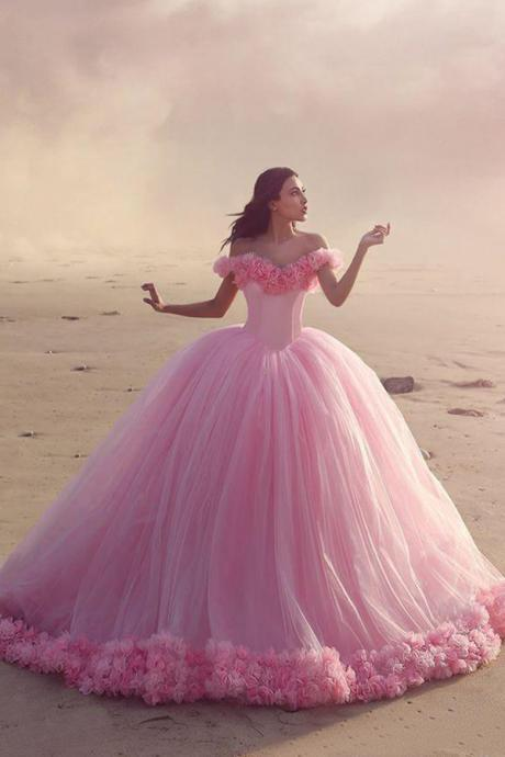 Glamorous Off-the-shoulder Ball Gown Sweep Train Pink Wedding Dress with Flower