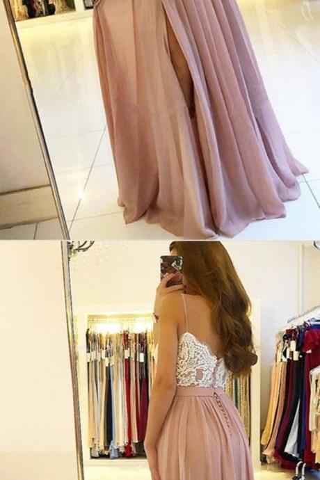 fashion spaghetti straps party dresses,pink chiffon prom dresses long, simple white lace a line prom party dress