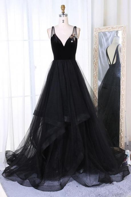 Black A Line Prom Dress,Prom Gown,Evening Gowns,Party Dresses,Evening GownsTulle Formal Gown For Teens