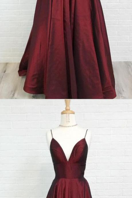 Burgundy Spaghetti Straps Prom Dress,V-neck Long Evening Dresses,Satin Burgundy Prom Dresses