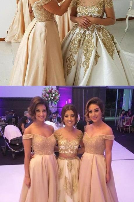champagne off the shoulder bridesmaid dresses, elegant beading bridesmaid dress,bodice evening party dresses, a line satin prom dresses