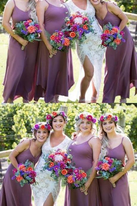 Spaghetti Straps Bridesmaid Dresses, Dusty Purple Asymmetry Bridesmaid Dresses, Long Bridesmaid Dresses.chiffon party dresses