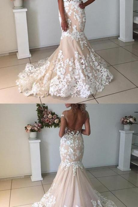 Elegant Champagne Wedding Dress,Mermaid Backless Wedding Dresses ,With Ivory Bridal Dresses, Lace Appliques Wedding Dress