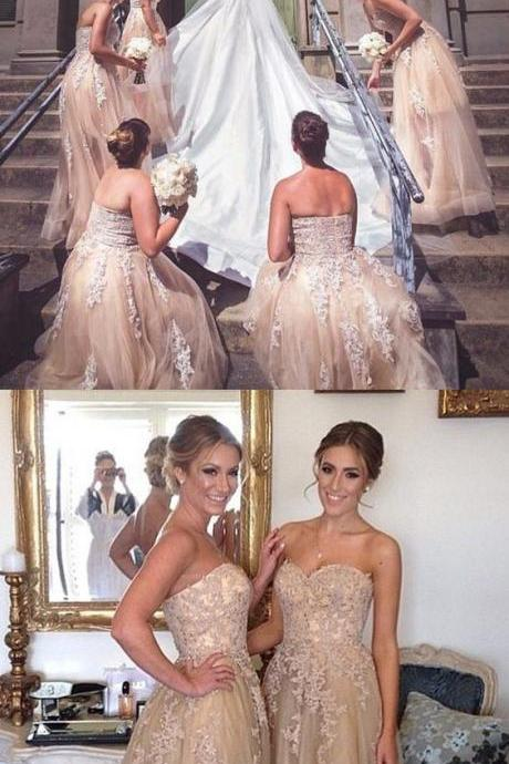 champagne sweetheart bridesmaid dresses, elegant tulle long wedding party dresses, a line prom dresses with appliques,Bridesmaid Dresses,party dresses