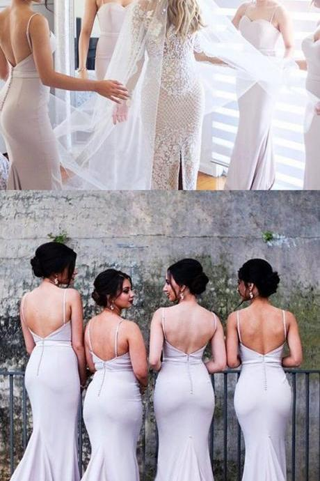 spaghetti straps lavender bridesmaid dresses, mermaid backless bridesmaid dresses, elegant wedding party dresses with appliques
