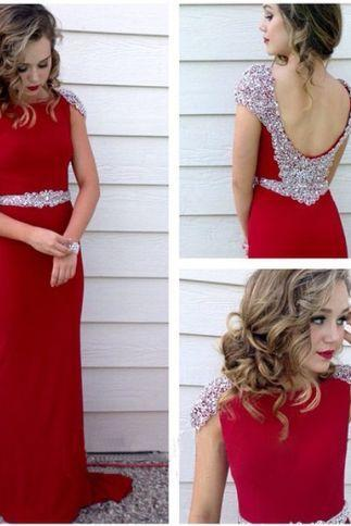 Beaded Embellished Prom Dress,Cap Sleeves Red Prom Dresses,Crew Neck Floor Length Formal Dress Featuring Low Back, Prom Dress