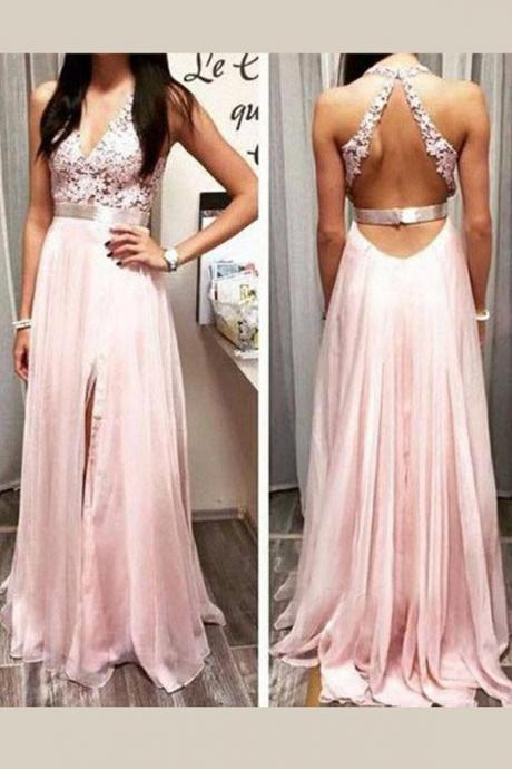 Charming Deep V Neck Prom Dress, Appliques Open Back Prom Dresses,Side Slit Tulle Evening Dress,Evening Dress, Evening Dresses,Prom Gowns, Formal Women Dress, Evening Gowns