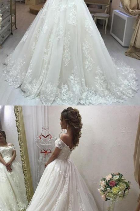 Lace Embroidery Wedding Dresses,Off Shoulder Tulle Wedding Dresses,Princess Wedding Dress, Bridal Gowns