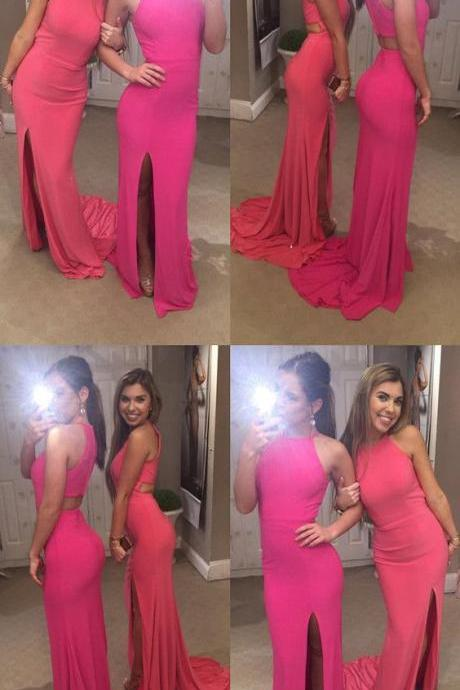 pretty pink long jersey mermaid prom dresses long split evening gowns