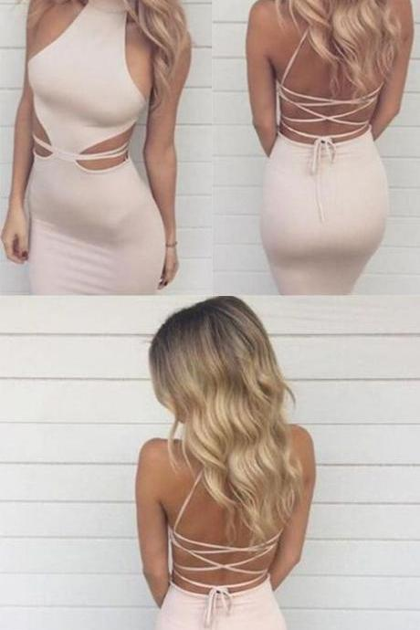 Sexy High Neck Prom Dresses,Floor Length Criss-Cross Prom Dress,Straps Pearl Pink Mermaid Prom Dress,Elegant Evening Gowns
