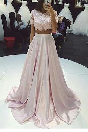 Gorgeous Two-Piece Prom Dresses,A-Line Pink Lace Long Prom Dress, evening gowns, formal dresses