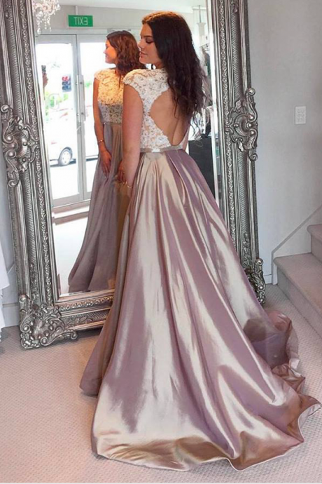 O-Neck Lace Prom Dress,Long Prom Dresses,Cheap Prom Dresses, Evening Dress Prom Gowns, Formal Women Dress,Prom Dress