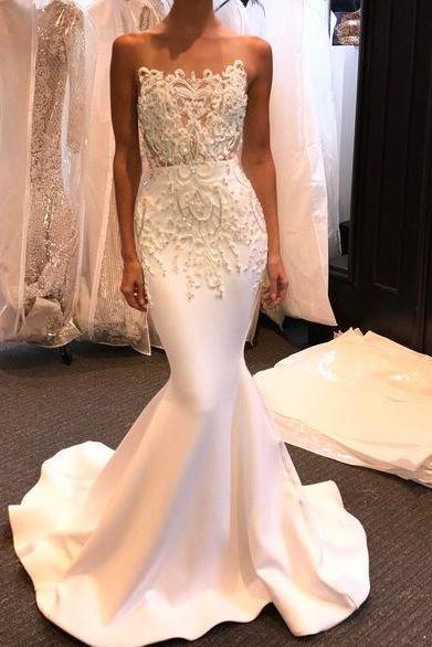 Lace Wedding Dress,Sweetheart Wedding Dresses, Hot Sale Bridal Dress,Sexy Evening Dress,White Mermaid Wedding Dresses