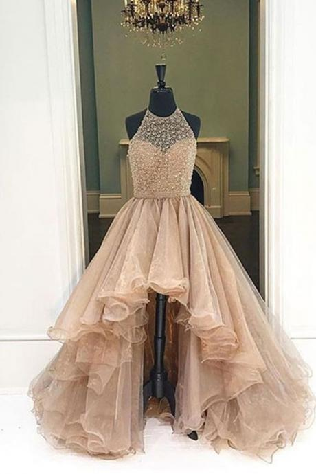 Champagne organza halter high low A-line long dress,foemal dresses for teens,Prom Dress