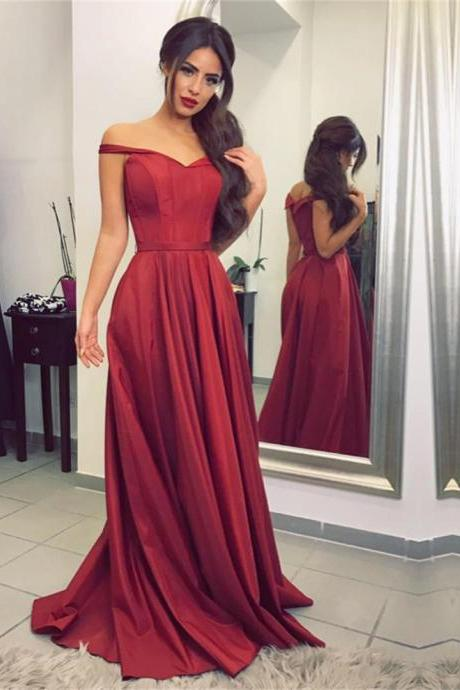 burgundy Prom Dress,bridesmaid dress,satin prom dress,off the shoulder evening gowns,sexy long formal dress