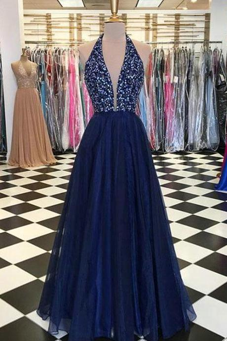 Navy Blue Elastic Prom Dress,Satin Prom Dresses ,with Sequins Beaded Elegant Prom Gowns
