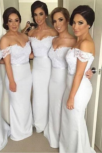 Pretty Off Shoulder Long White Bridesmaid Dresses,Lace Bridesmaids Dresses,Mermaid Bridesmaid Gowns,Sexy Prom Dresses, girls party dress, White sexy prom Dresses,homecoming dress , cheap short sexy prom dress .