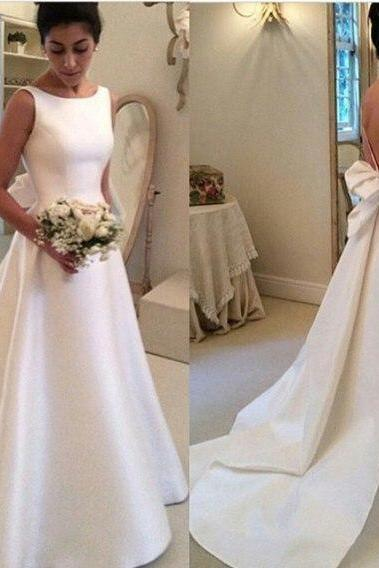 White Satin Wedding Dress, Hot Sale A Line Wedding Dresses,Bridal Gowns Bow Wedding Gowns,Graduation Dresses,Wedding Guest Prom Gowns, Formal Occasion Dresses,Formal Dress