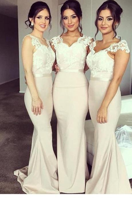 Bridesmaid Dress,lace cap sleeves Bridesmaid Dresses,v neck long mermaid bridesmaid dresses,elegant evening gowns,elegant formal dress