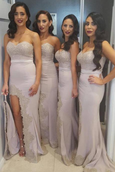 Bridesmaid Dress, elegant bridesmaid dresses,lace appliques mermaid dress,long mermaid evening gowns,slit prom dress,sexy prom dress