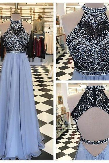 Custom Made Charming Halter Prom Dress,Chiffon Beaded Evening Dress,Sleeveless Party Dress, Prom Gowns, Formal Occasion Dresses,Formal Dress