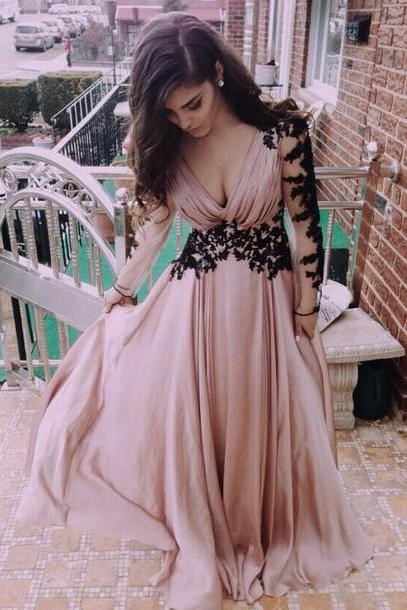 Pretty Pink V-Neck Evening Dress,party Dress for prom, Appliques Satin party Dress,Long-Sleeve Prom Dress,Dresses For Evening,Sexy Floor-Length party Dresses, Sexy Halter party Dresses, Sheath Sequins Prom Dresses, Charming party Dresses, Prom Dresses On Sale