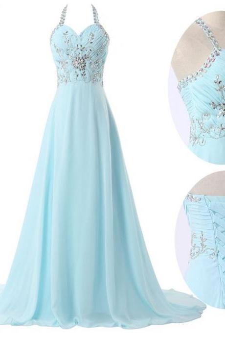 Floor-length A-line Prom Dresses,Beaded Prom Dress with Halter Neckline