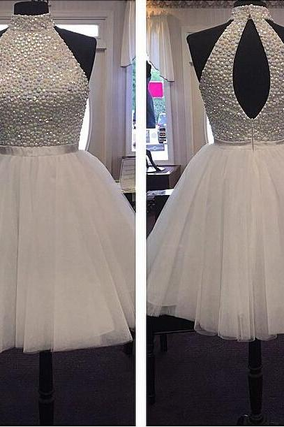 Luxury beads Homecoming Dresses, Short Prom Party Gown,sexy high neck Homecoming Dresses,short prom dresses,tulle Homecoming Dresses,custom size dresses