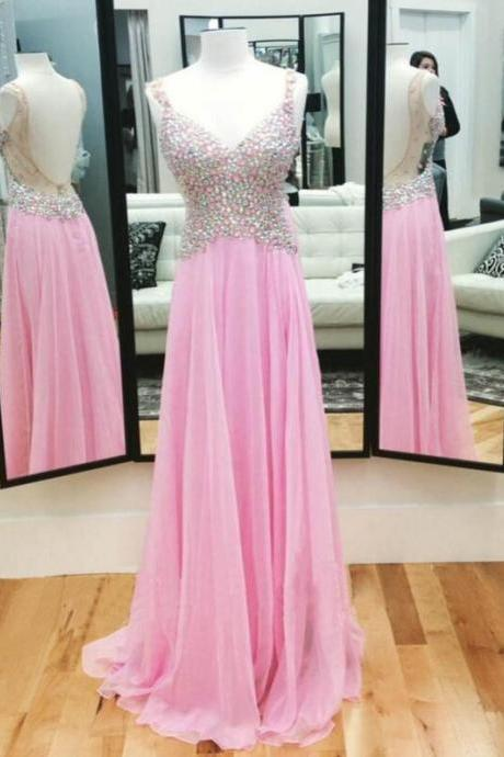 Luxury beads Prom Dresses, Evening Dress ,Wedding Party Dress ,Chiffon Beadings A line Prom Dress