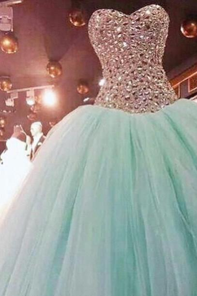 Luxury beads wedding dresses,Custom Made Sweetheart Neck Long Bridal Dresses,Pruffy Green Ball Gown,Evening Dresses,tulle prom Gowns Plus Size, Cocktail Dresses, formal dresses,Wedding guests dresses