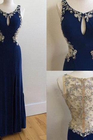Charming Royal Blue Prom Dresses, Beading Prom Dress, See Through Back Prom Dress Prom Dress,Long Sexy Prom Dresses,Long Sleeves Mermaid Formal Gowns, Prom Dress,Formal Gowns Plus Size, Cocktail Dresses, formal dresses,Wedding guests dresses