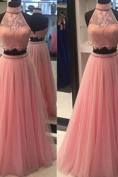 Two Pieces Prom Dresses,Sexy Halter Evening Dresses,Pink Lace Tulle Prom Dresses, Evening Dresses,Evening Dresses,Formal Gowns Plus Size, Cocktail Dresses, formal dresses,Wedding guests dresse
