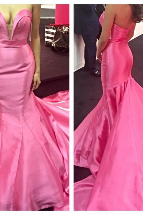 Charming Pink Prom Dress,Cute Sweetheart Evening Dress,Backless Prom Dress with Long Train,Sexy Backless Prom Dresss,satin A-Line Formal Gowns, Prom Dress,Formal Gowns Plus Size, Cocktail Dresses, formal dresses,Wedding guests dresses