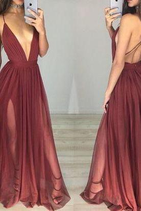 Custom Charming Chiffon Prom Dresses,Sexy Spaghetti Straps Evening Dress,Deep V-Neck Prom Dresses,Beauty Evening Dresses,Long Prom Dresses,Evening Dresses, Prom Dresses,Long Beading Prom Dresses, Cocktail Dresses, formal dresses,Wedding guests dresses