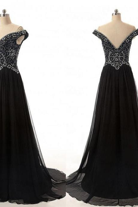 Black floor Length A-Line Chiffon Evening Dress Featuring Beaded Embellished Off-The-Shoulder Bodice and Plunge V Backless Detailing