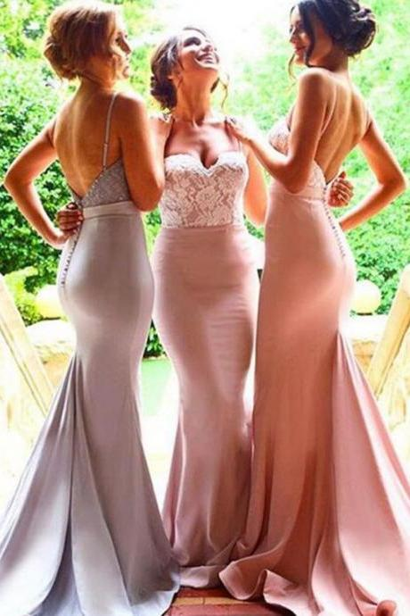 sweep train dresses for brides maid , long dreeses for wedding party, Mermaid Spaghetti Straps Backless Pink Bridesmaid Dress with Lace Sash