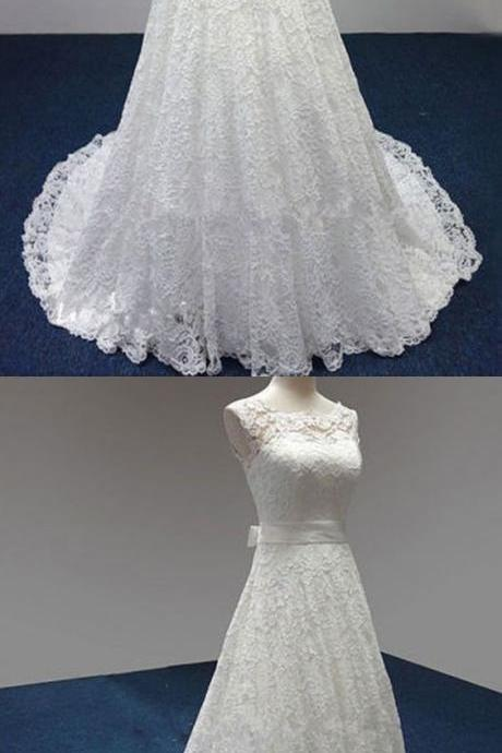 elegant lace wedding dresses, classic bride dresses with Bow, white lace sleeveless wedding party dresses