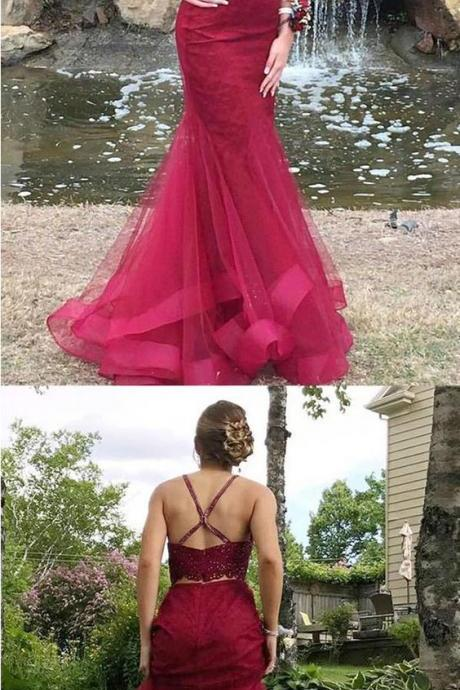 Mermaid Deep V-Neck Beaded Prom Dress, Two Piece Burgundy Formal Dress